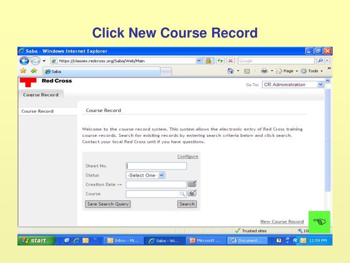 Click New Course Record