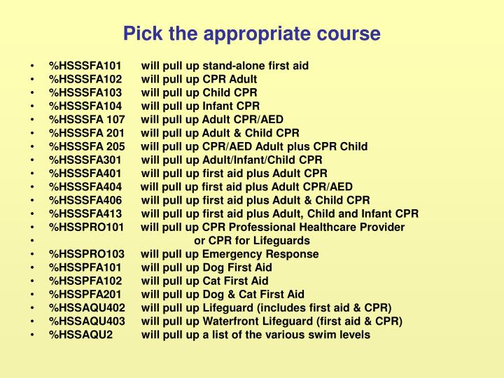Pick the appropriate course