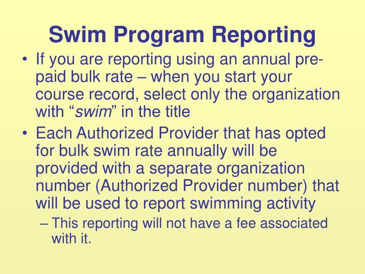 Swim Program Reporting