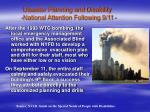 disaster planning and disability national attention following 9 11