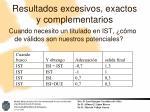 resultados excesivos exactos y complementarios