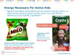 energy necessary for active kids