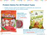protein claims for all product types