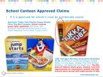 school canteen approved claims