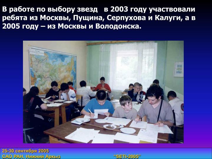 В работе по выбору звезд   в 2003 году участвовали ребята из Москвы, Пущина, Серпухова и Калуги, а в 2005 году – из Москвы и Володонска.