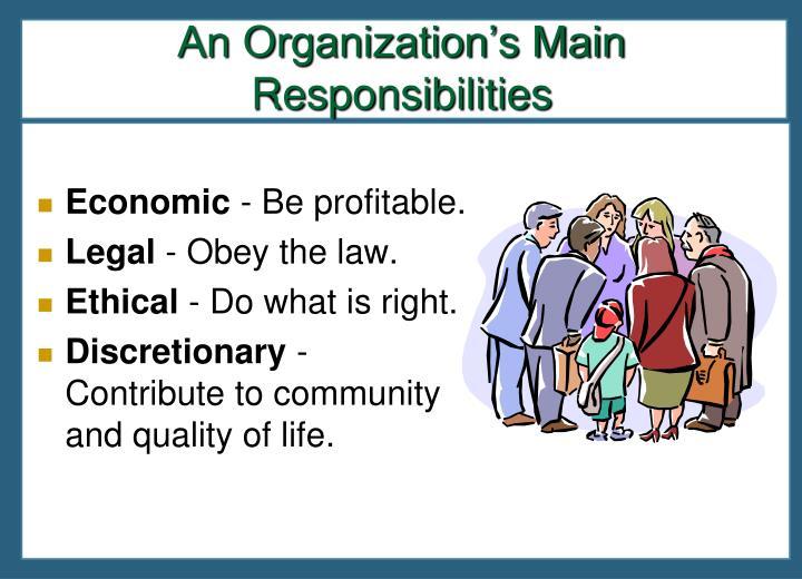 An Organization's Main Responsibilities