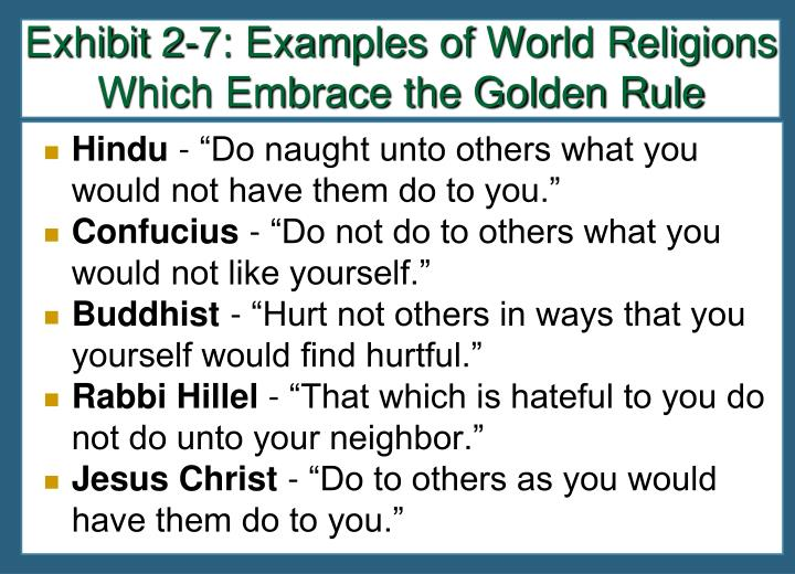 Exhibit 2-7: Examples of World Religions Which Embrace the Golden Rule