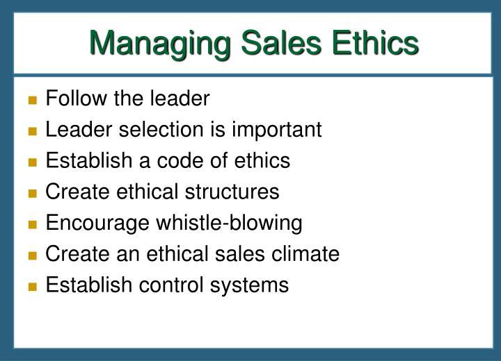 Managing Sales Ethics