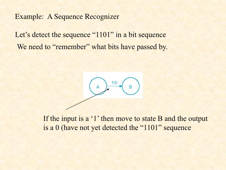 Example:  A Sequence Recognizer