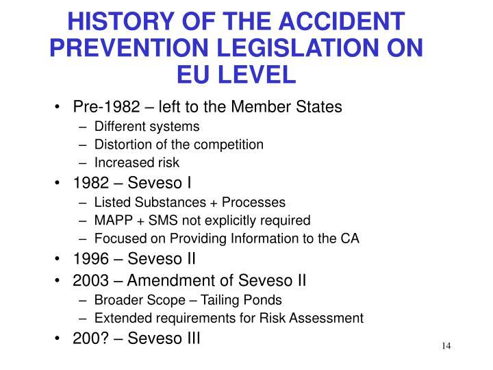 HISTORY OF THE ACCIDENT PREVENTION LEGISLATION ON EU LEVEL