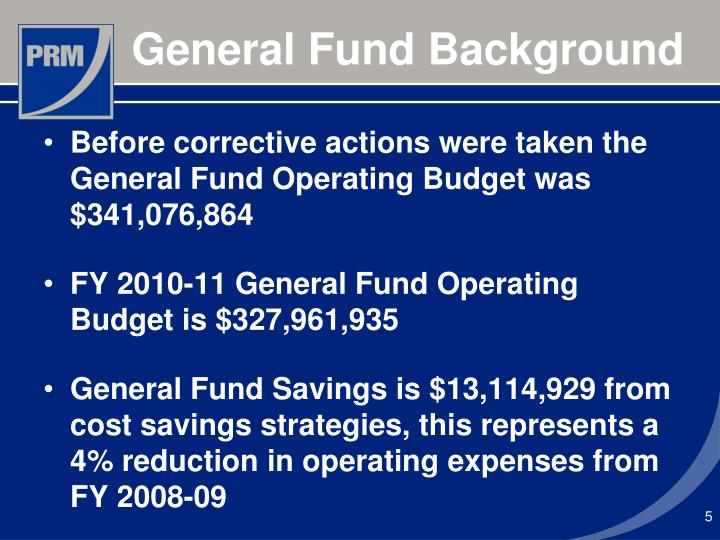 Before corrective actions were taken the General Fund Operating Budget was $341,076,864