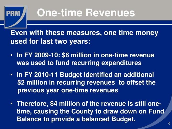 Even with these measures, one time money used for last two years: