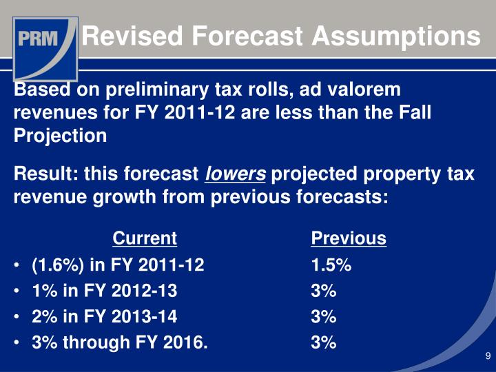 Revised Forecast Assumptions