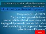 il contratto a termine nel pubblico impiego dopo la privatizzazione
