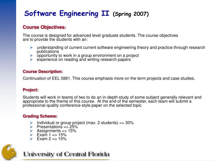 Software engineering ii spring 20072