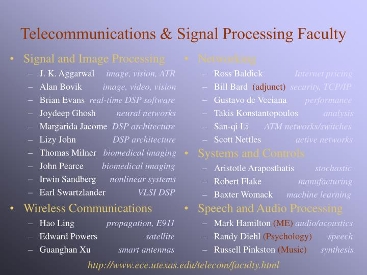 Telecommunications signal processing faculty