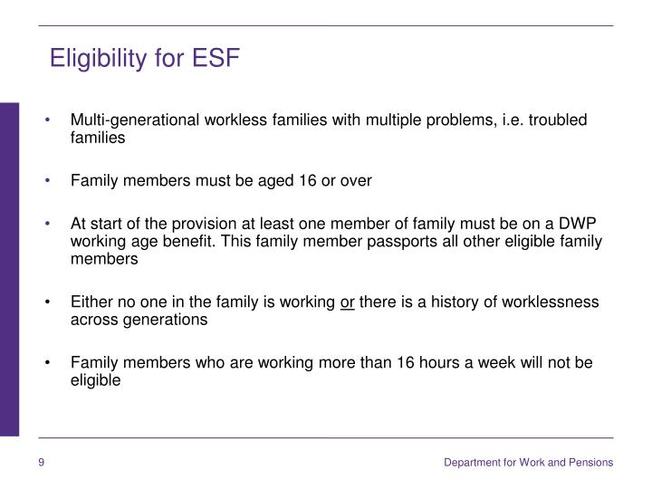 Eligibility for ESF