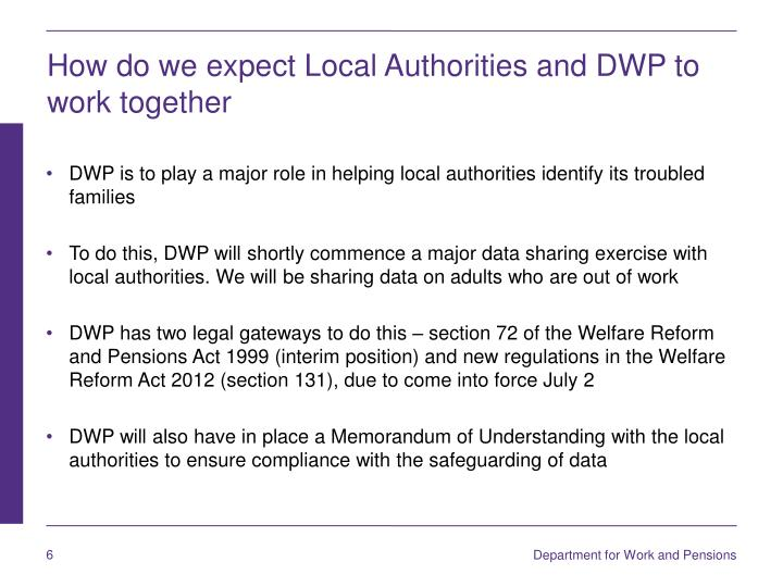 How do we expect Local Authorities and DWP to work together