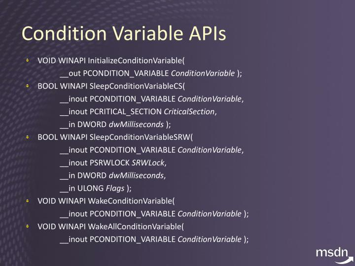 Condition Variable APIs