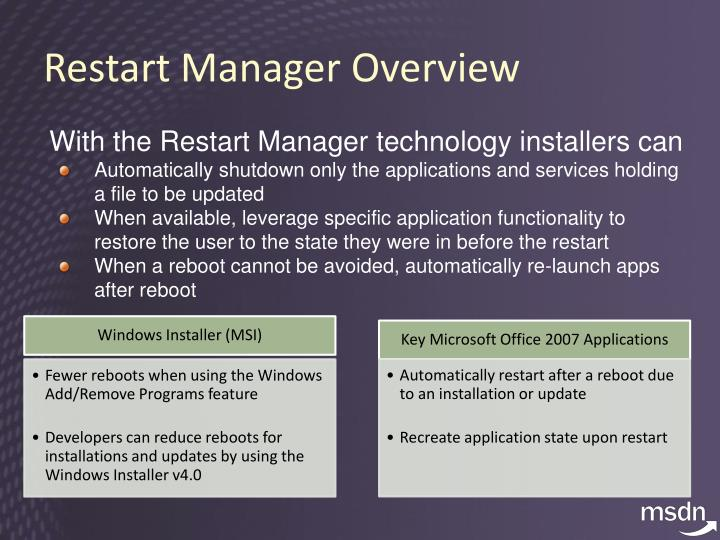 Restart Manager Overview