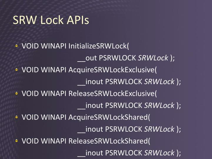 SRW Lock APIs