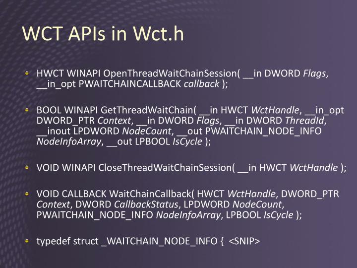 WCT APIs in