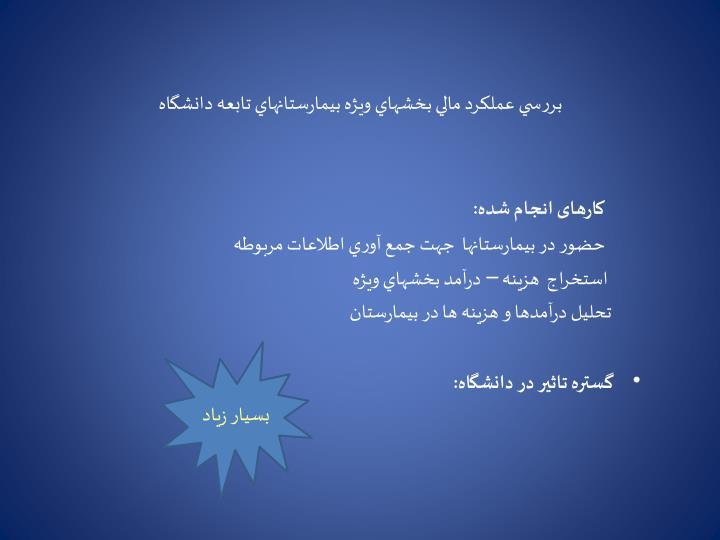 بررسي عملكرد مالي بخشهاي ويژه بيمارستانهاي تابعه دانشگاه