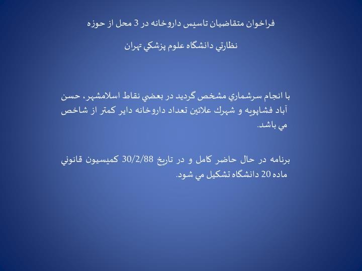 فراخوان متقاضيان تاسيس داروخانه در 3 محل از حوزه