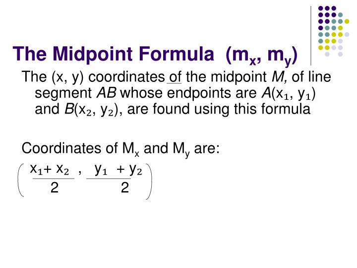 The Midpoint Formula  (m