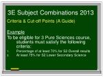 3e subject combinations 20135