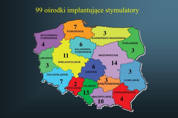 99 ośrodki implantujące stymulatory