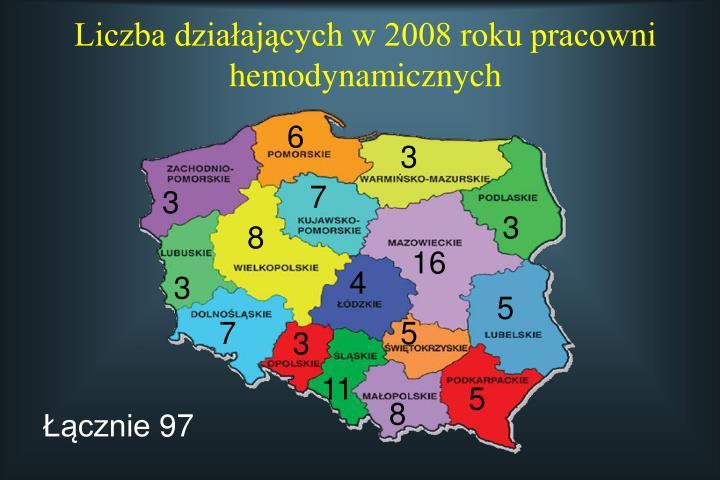Liczba działających w 2008 roku pracowni hemodynamicznych