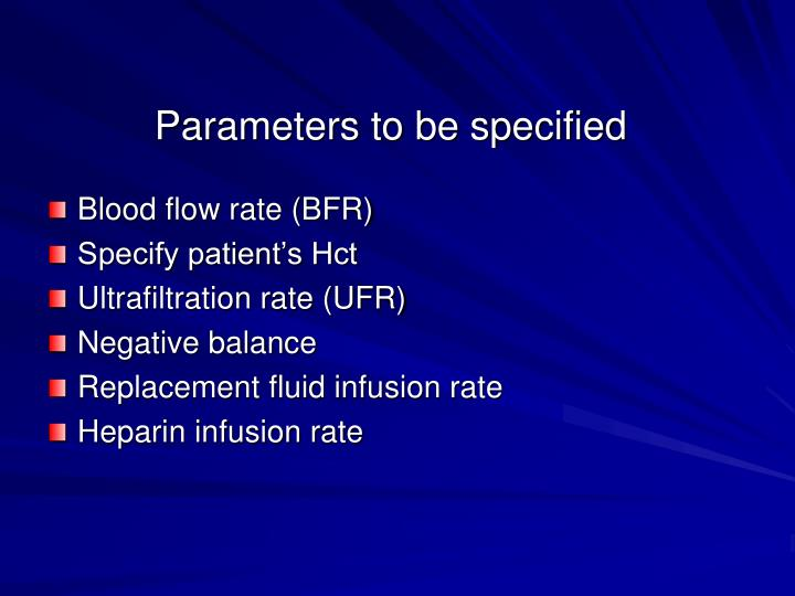 Parameters to be specified