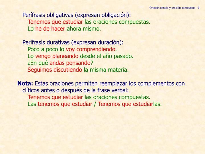 Oración simple y oración compuesta - 3