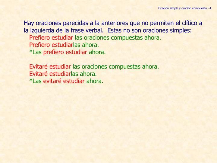 Oración simple y oración compuesta - 4