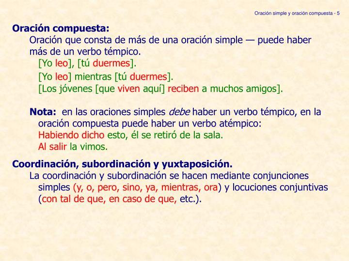Oración simple y oración compuesta - 5