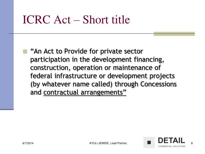 ICRC Act – Short title