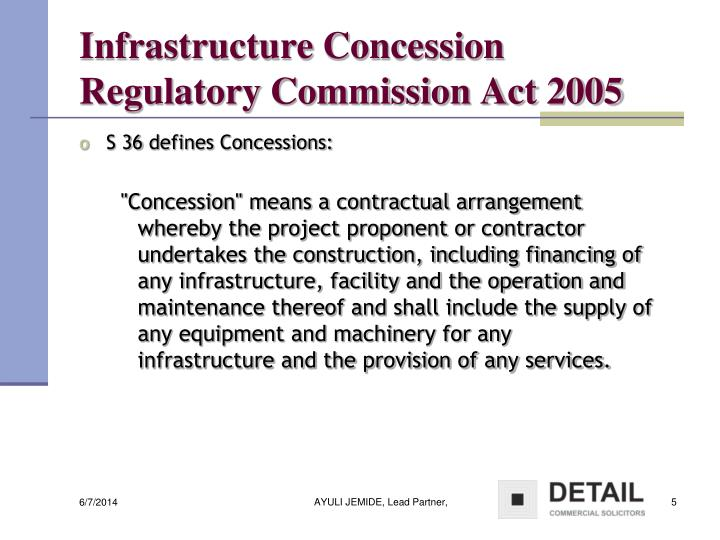 Infrastructure Concession Regulatory Commission Act 2005