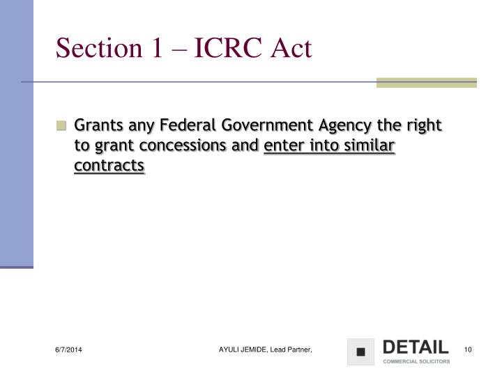 Section 1 – ICRC Act