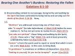 bearing one another s burdens restoring the fallen galatians 6 1 101