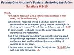 bearing one another s burdens restoring the fallen galatians 6 1 107