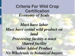 criteria for wild crop certification