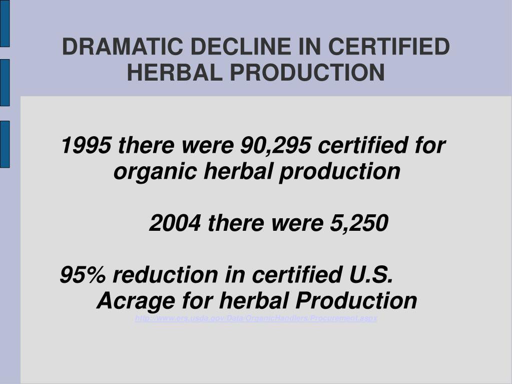 1995 there were 90,295 certified for organic herbal production