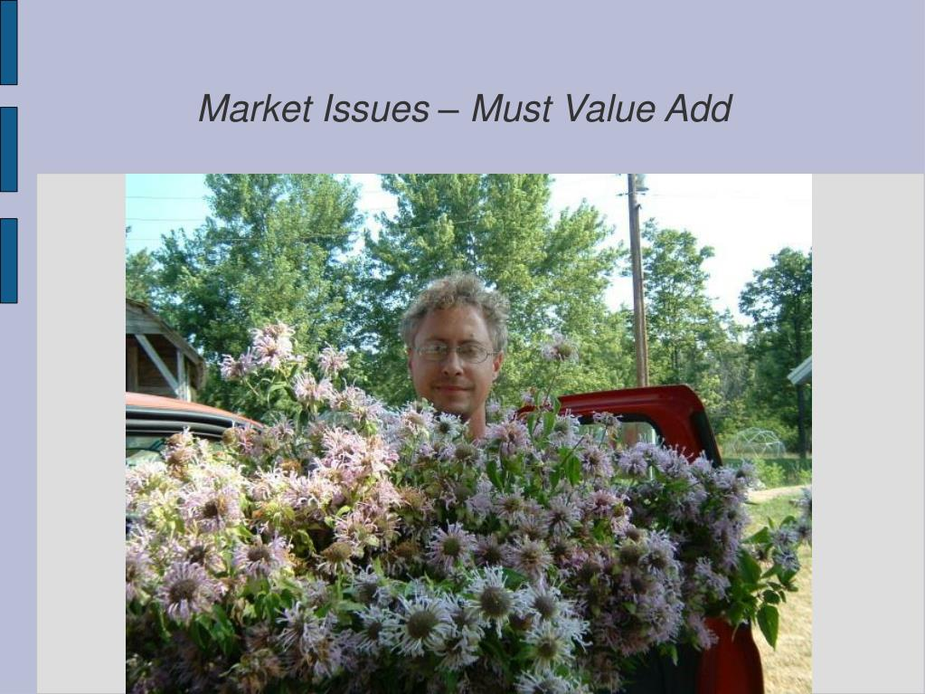 Market Issues – Must Value Add