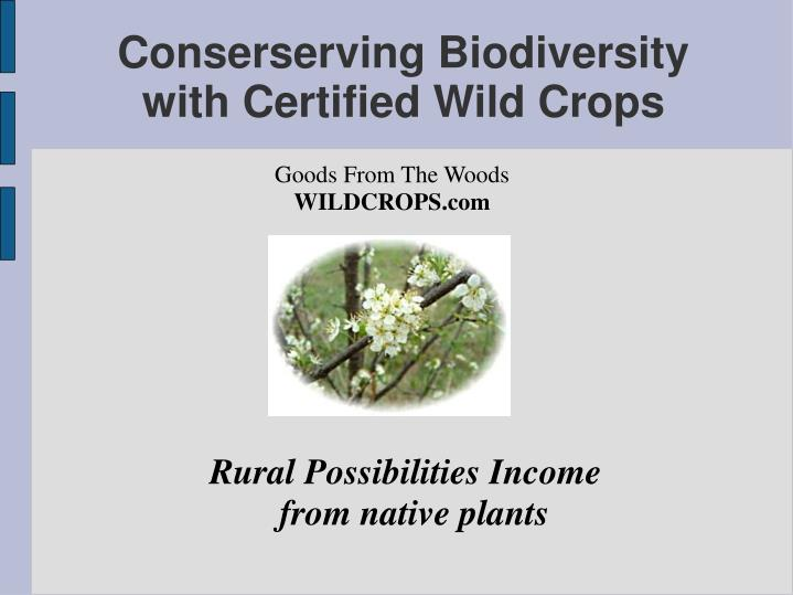Rural possibilities income from native plants
