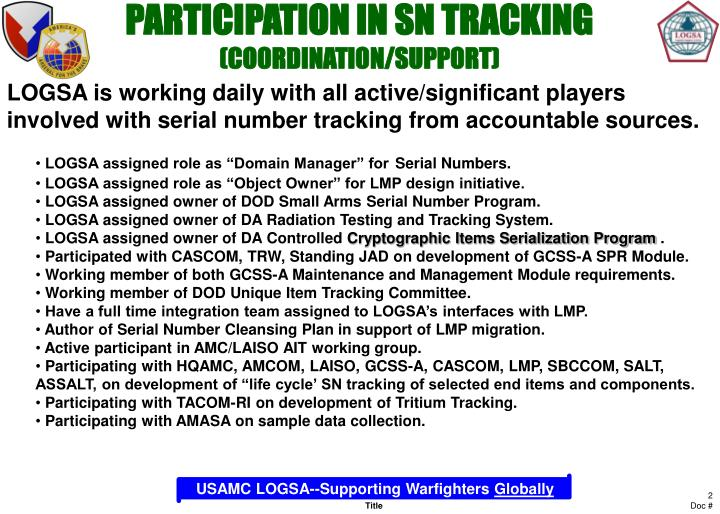 Participation in sn tracking coordination support