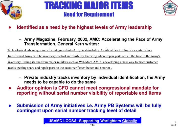 Tracking major items need for requirement