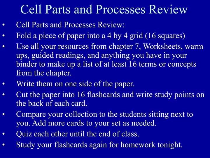 Cell Parts and Processes Review