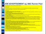 job advertisement eg bbc runner pool