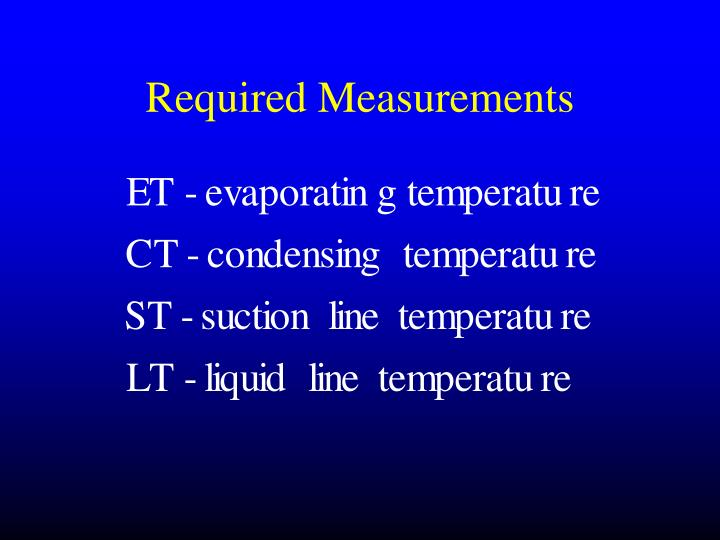 Required Measurements